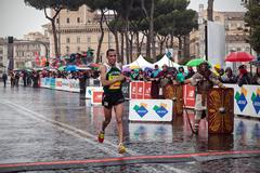 Rome, Italy - March 22, 2015:Jamel Chatbi winner of third place at 21 Marathon - stock photo