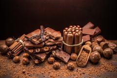 Chocolate with nuts Stock Photos