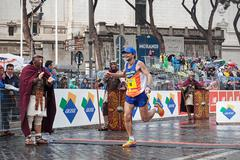 Rome, Italy - March 22, 2015: Giorgio Calcaterra, the finish line - stock photo