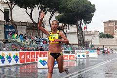 Rome, Italy - March 22, 2015: Girl at the finish line. - stock photo