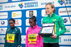 Rome, Italy - March 22, 2015: DEBORAH TONIOLO, third place in the women's race. - stock photo