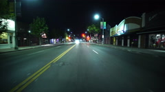 4K Driving Plates Los Angeles Night Front View 03 Melrose Ave East bound Stock Footage