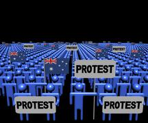 Stock Illustration of Crowd of people with protest signs and Australian flags illustration