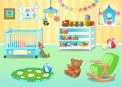 Funny nursery with toys Stock Illustration