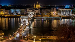 Budapest.  Chain Bridge with St. Stephen's Basilica in the background. - stock footage