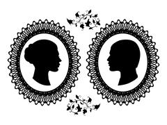 Profiles of man and woman in ornate frame. Black silhouette of a couple isolated - stock illustration
