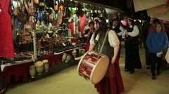 MURCIA, SPAIN-MARCH Musicians play  in  a medieval market on March  Stock Footage