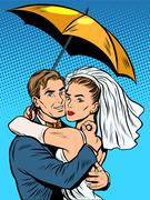 Couple in love bride and groom under an umbrella - stock illustration