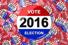 Composite image of vote 2016 button - stock illustration