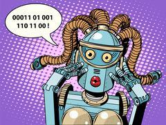 Woman robot surprised Stock Illustration
