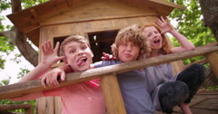 Children pulling silly faces at camera while in a treehouse - stock footage