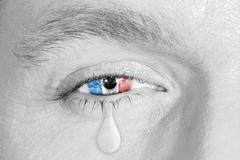 Crying eye with France Flag Stock Photos