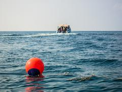 Territory buoy in the sea - stock photo