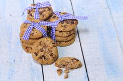 Delicious chocolate chip cookies - stock photo