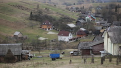 The village in a mountainous area on the territory of Western Ukraine Stock Footage