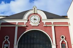 clock on facade Kazansky railway station from  street Novoruzanskaya - stock photo