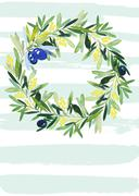 Olive wreath watercolor - stock illustration