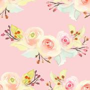 Seamless pattern with flowers watercolor. Gentle colors. Female - stock illustration
