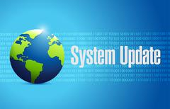 System update binary globe sign concept Stock Illustration