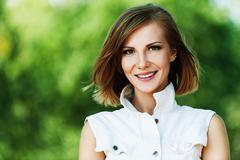 Stock Photo of portrait young charming short-haired woman
