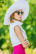 beautiful woman hat sunglasses - stock photo