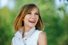 Portrait young charming short-haired woman Stock Photos