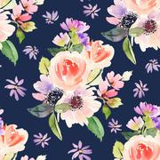 Seamless pattern with flowers watercolor. Gentle colors. Female pattern. Hand Stock Illustration