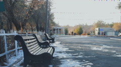 Park bench autumn frosts Stock Footage
