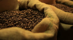 Grains of the Roasted Coffee in the Bag Stock Footage