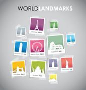 Famous landmarks photo boxes Piirros