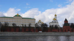 4k Walls Of Famous Kremlin And Ivan Great Bell Tower. Time Lapse. Spring. Stock Footage