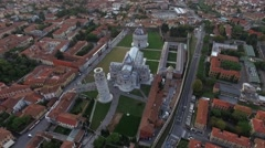 Aerial Video of the Leaning Tower and Cathedral Stock Footage