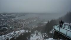 Bergen City Time Lapse  Mount Floyen Norway  Stock Footage