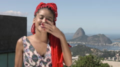 Funky young woman laughing Stock Footage