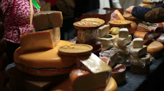 Assortment of cheese at a medieval market Stock Footage