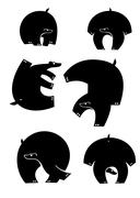 Original art bear silhouettes collection - stock illustration