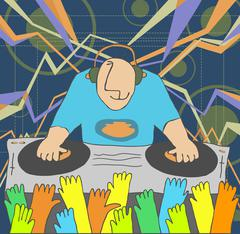 Cartoon funny DJ illustration - stock illustration