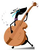 Dog plays on double bass - stock illustration