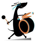 Dog a drummer Stock Illustration