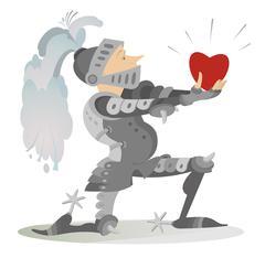 Knight in love Stock Illustration