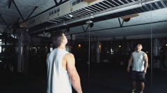 male athlete doing standard pull-ups at the gym slow motion - stock footage