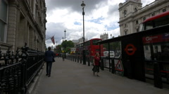 Few people walking on Parliament Street in London Stock Footage