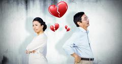 Composite image of older asian couple having an argument Stock Photos