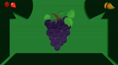 Grapes  - Vector Graphics - Food Animation - leaves Stock Footage