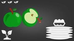 Green Apple  - Vector Graphics - Food Animation - grey - stock footage