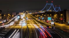 Triboro / RFK Bridge Night Timelapse light streaks - stock footage