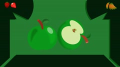 Green Apple  - Vector Graphics - Food Animation - leaves - stock footage
