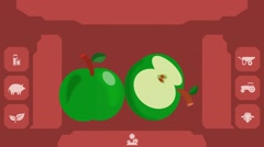 Green Apple  - Vector Graphics - Food Animation - menu Stock Footage