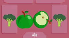 Green Apple  - Vector Graphics - Food Animation - pink - stock footage