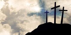 Cross religion symbol shape over sunset sky - stock illustration